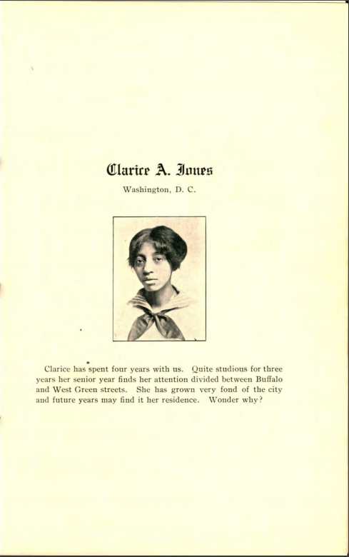 Yearbook entry for Clarice A. Jones