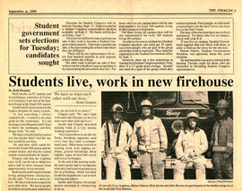 Newspaper clipping showing student firefighters