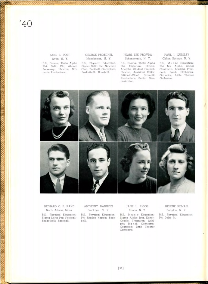 Yearbook page with photo of Pearl Lee Provda