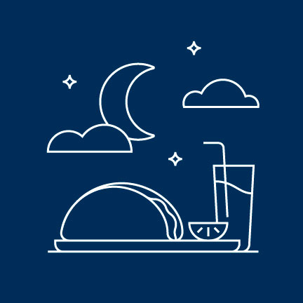 Icon of a taco and drink against a night sky with moon.